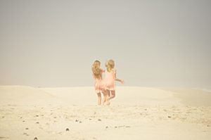Two girls on a beach